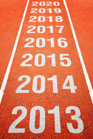 pic of happy new year 2013  - Continous Year Number on athletics running track - JPG
