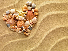 stock photo of starfish  - Heart made of sea shells and the starfish lying on a beach sand summer background - JPG