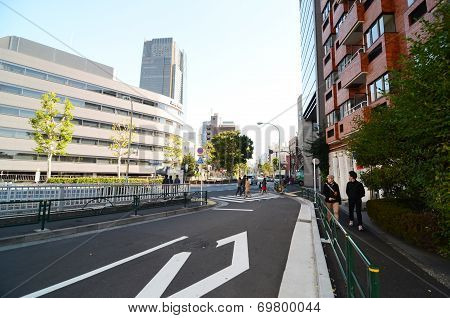 Tokyo, Japan - November 23, 2013 : People Walking Around Roppongi District
