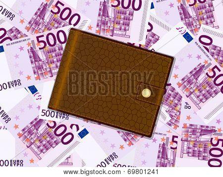 Wallet On Five Hundred Euro Background