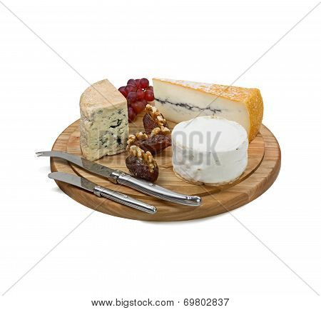 Cheese Board With Three Varieties Of French Cheese On White Background