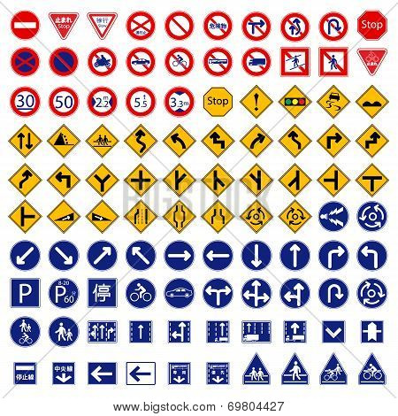 One Hundred different highly detailed and fully editable vector Traffic-Road Sign Collection. Japan
