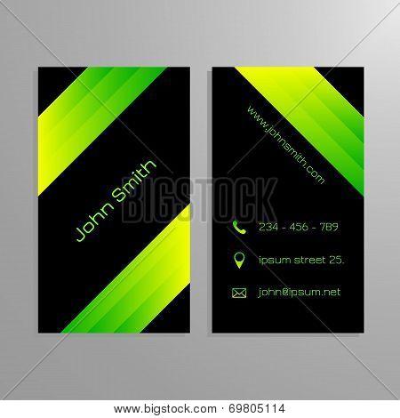 Business card template - black and gren sleek modern design