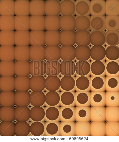 3D Abstract Tiled Mosaic Background In Orange Brown
