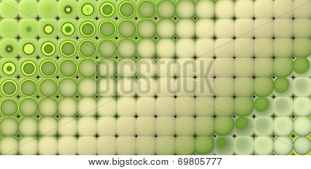 3D Abstract Tiled Mosaic Background In Multiple Green Beige