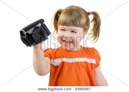 Cute Little Girl With Camcoder
