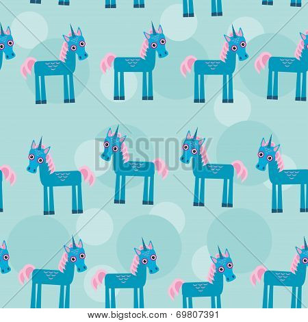 pattern with funny cute unicorn animal on a blue backgr