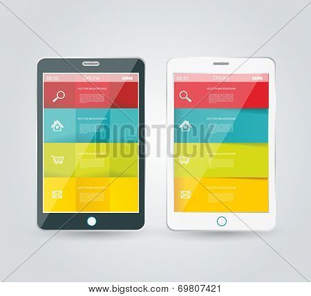 Touch Screen Smartphone With Modern Infographic With In The Middle.
