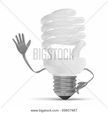 Fluorescent Light Bulb Character Waving Hand
