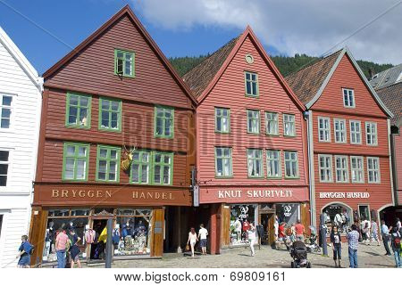 Bryggen, landmark of Bergen in Norway