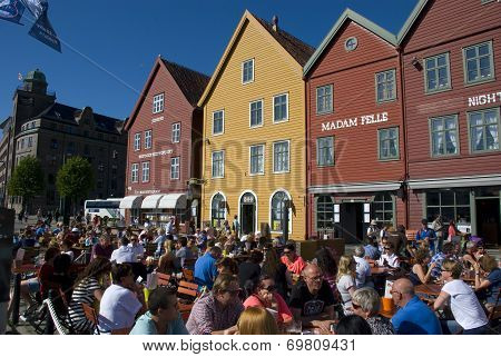 Cafe at Bryggen, Bergens landmark in Norway