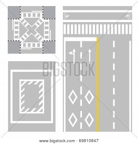 crossing street. safety zone sign on street