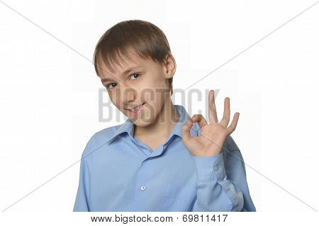 Young smiling boy showing ok isolated