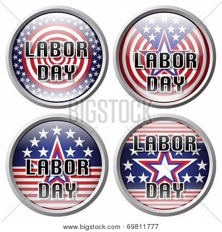 Pin Labor day. Sticker Labor day. Labor day button over white background vector illustration