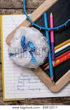 pencil,bow schoolgirl first year pupil