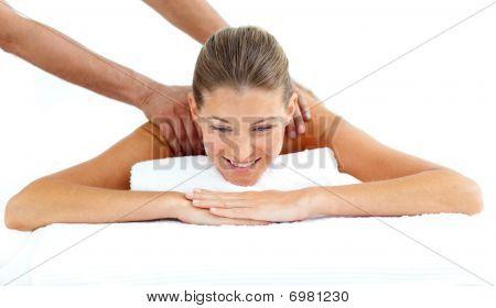 Pretty Woman Receiving A Back Massage
