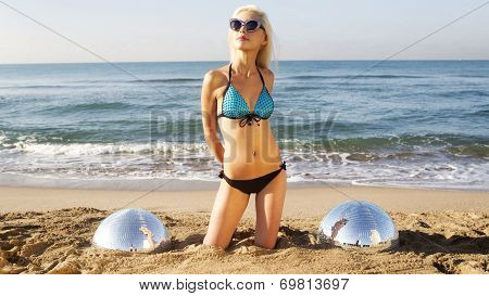 Sexy Blonde Beach Woman