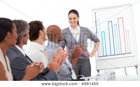 Cheerful Business People Clapping A Good Presentation