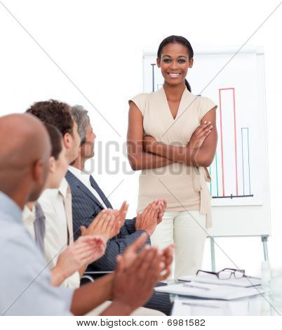 Positive Business People Applauding A Presentation