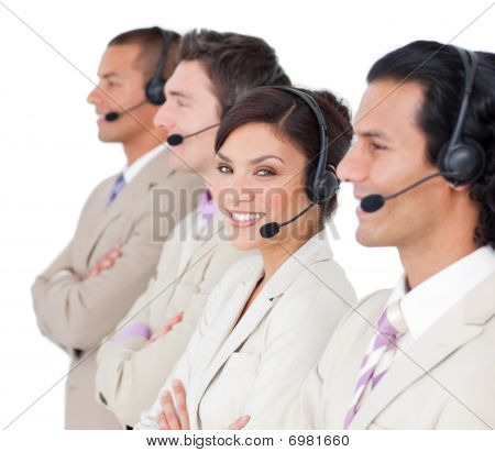 Assertive Customer Service Representatives Standing In A Row