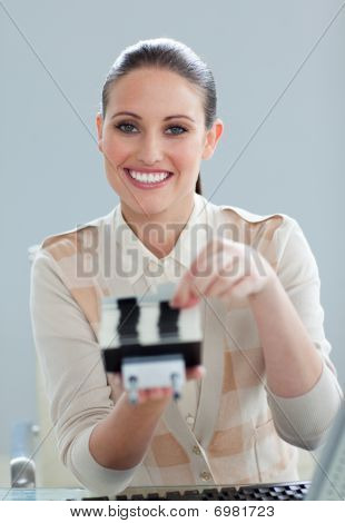 Positive Businesswoman Searching For The Index