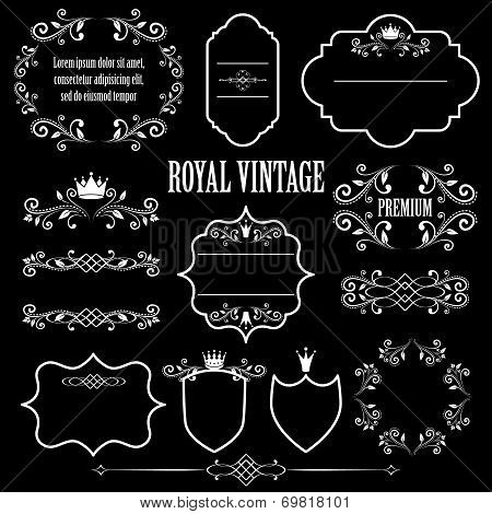 Floral design elements, ornamental vintage frames with crowns