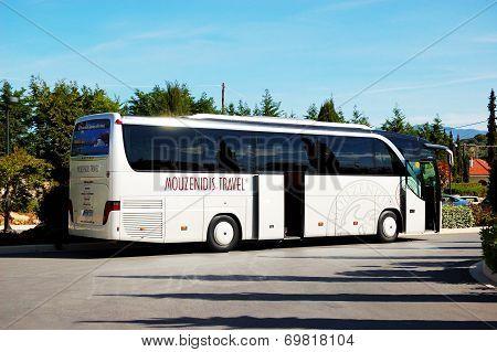 Kassandra Peninsula , Greece - April 26: The Modern Bus For Tourists Transportation Is Near Entrance