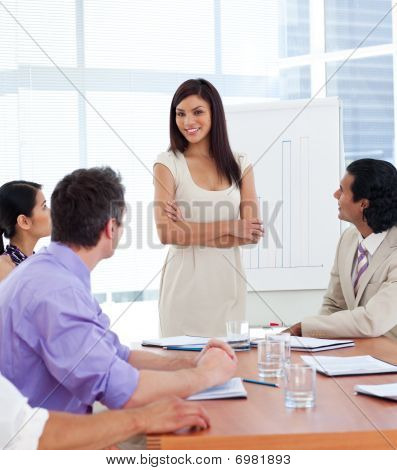 Young Businesswoman Giving A Presentation