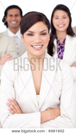 Presentation Of A Smiling Business Team