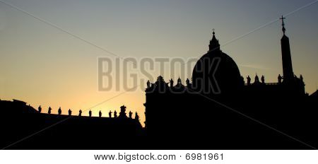 Rome - silhouette of st. Peters cathedral