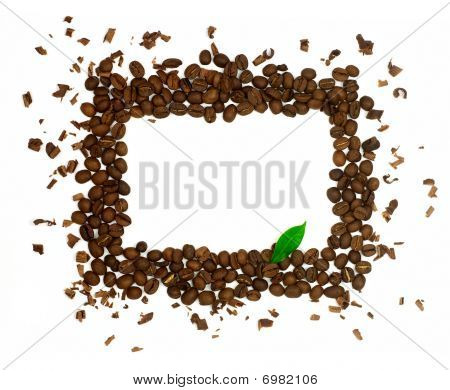 Rectangle Symbol Made Of Coffee Beans With Green Leaf Isolated On White Background