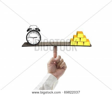 Clock And Gold Balancing On Finger Seesaw