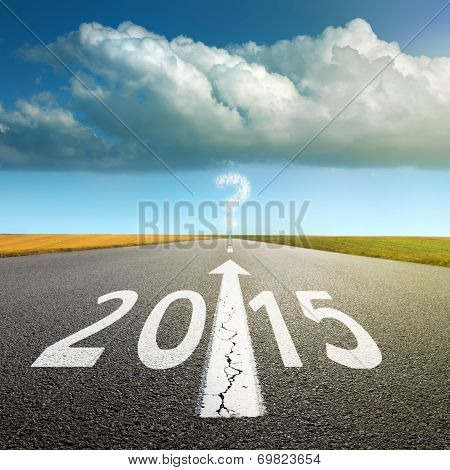 Driving On An Empty Asphalt Road  Forward To 2015