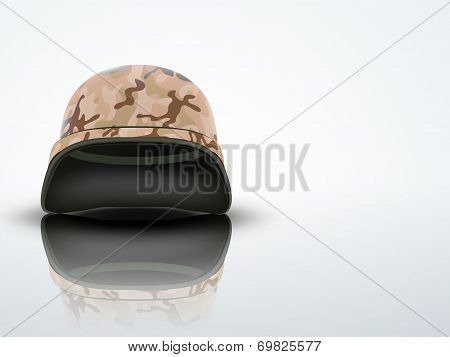 Light Background Military helmet with camo pattern