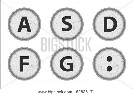 Typewriter Keys Asdfg