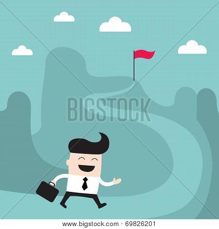 Businessman Goes To The Goal Success Achievement Business Concept
