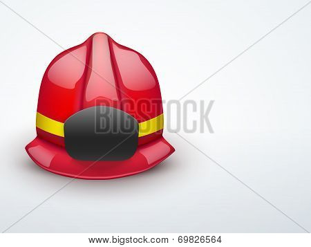 Light Background Red fireman helmet vector illustration