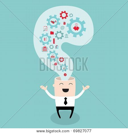 Businessman Head With The Gears Thoughts And Ideas Brain Storming Successful Business Idea Concept