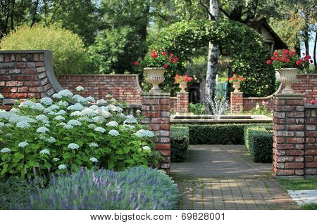 English  garden with a fountain