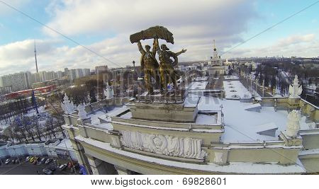 MOSCOW, RUSSIA - NOVEMBER 30, 2013: The main entrance and the Central Pavilion of All-Russia Exhibition Center, aerial view. The Center conducts more than 100 exhibitions