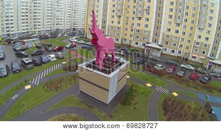 MOSCOW, RUSSIA - NOV 16, 2013: Sculpture of elephant in one of courtyards of apartment complex Marfino, aerial view. Each court has its own name (Giraffe, Rhino, Kangaroo, Elephant, Camel and Cobweb)