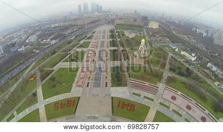 MOSCOW, RUSSIA - NOVEMBER 22, 2013: Victory Park on Poklonnaya Hill, aerial view. Victory Park - Memorial of Victory in Great Patriotic War 1941-1945
