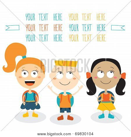 Group Of Happy Children Smiling On White Background Back To School Theme