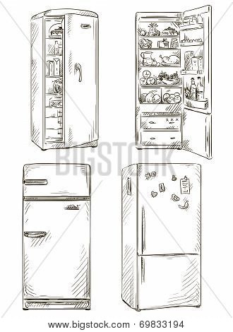 set of four hand drawn fridges.