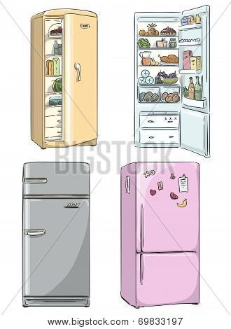 set of four hand drawn cartoon fridges. open fridge with healthy food. Vector illustration.