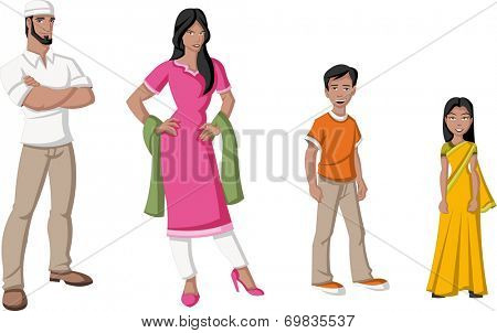 Happy cartoon family. Indian people.