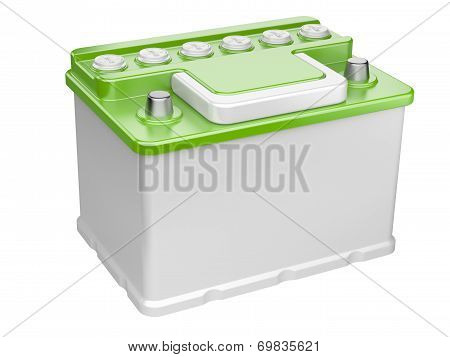 Green Car Battery Isolated On White Background.