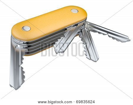 Swiss Knife With Keys Set.  Security Concept