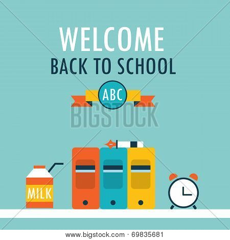 Welcome Back To School Background Books Clock And Milk
