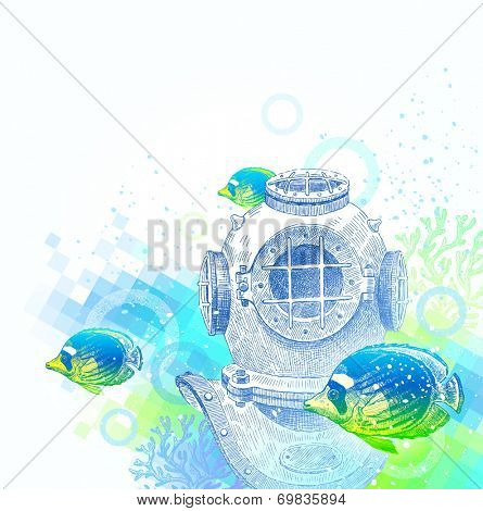 Hand drawn vintage diving helmet and tropical fishes